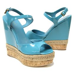 """Flashing those baby blues just got (way) better. Gucci Hollie Open Toe Wedge $495 at <a href=""""http://curatedbythetannery.com/products/hollie-open-toe-wedge"""">The Tannery</a>."""