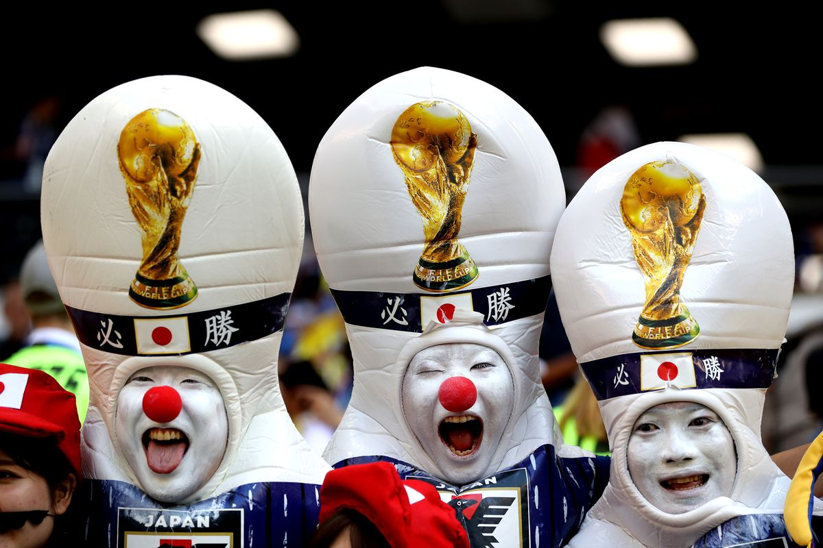 Japan fans celebrate during their game against Colombia at the 2018 FIFA World Cup.