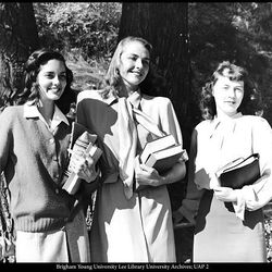 Colleen Kay Hutchins, center, and Jean Romney, left, and Myrlene Romney in 1947.