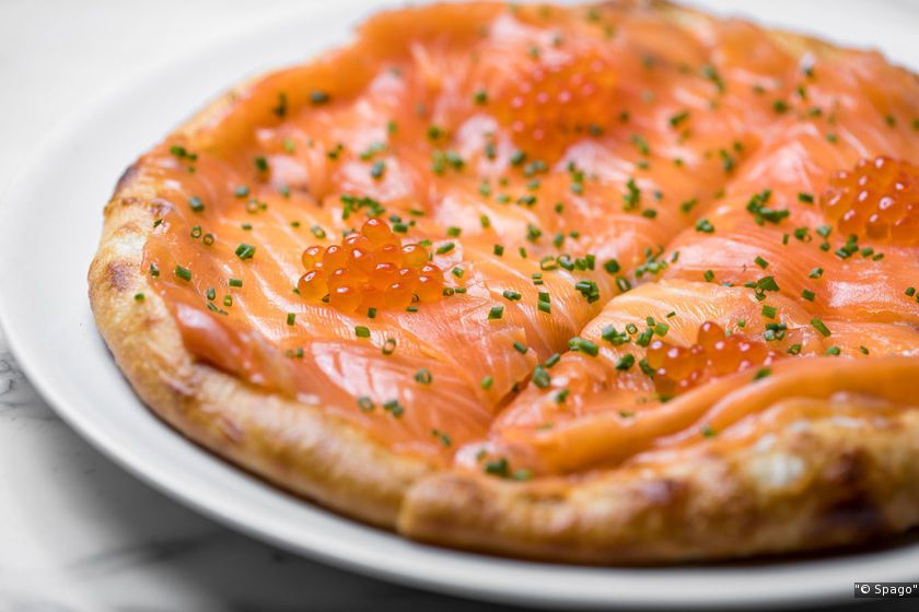 Smoked salmon pizza at Spago.