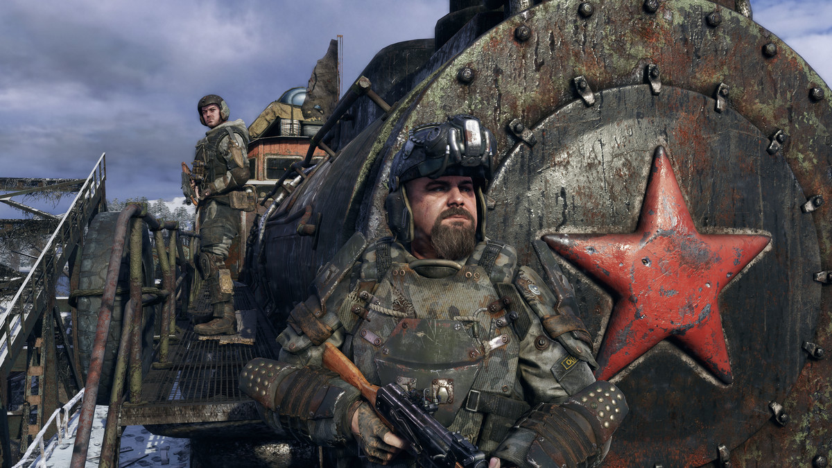 Metro Exodus - soldiers standing in front of a locomotive