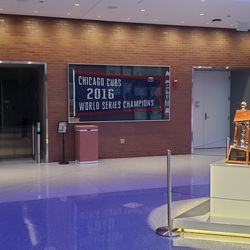 Inside the lobby of the Cubs office building