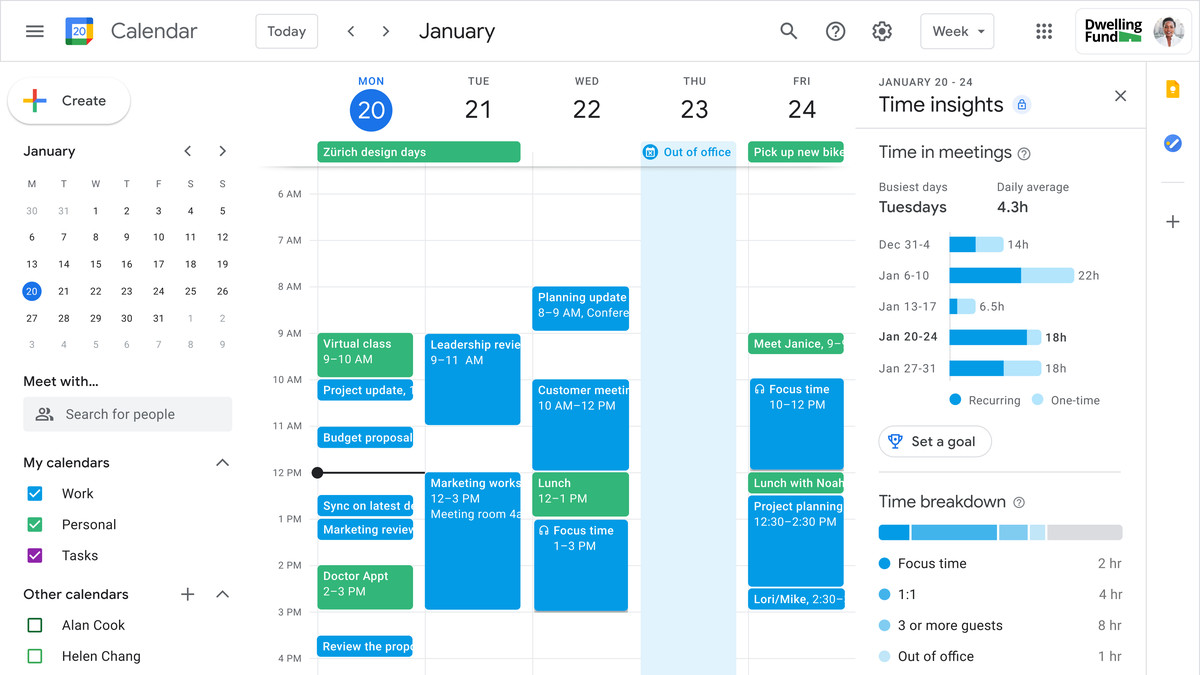 Estadísticas de tiempo de Google Calendar