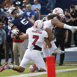 Brigham Young Cougars wide receiver Nick Kurtz (5) is called out in the endzone as Southern Utah Thunderbirds safety Kyle Hannemann (7) defends  in Provo on Saturday, Nov. 12, 2016.