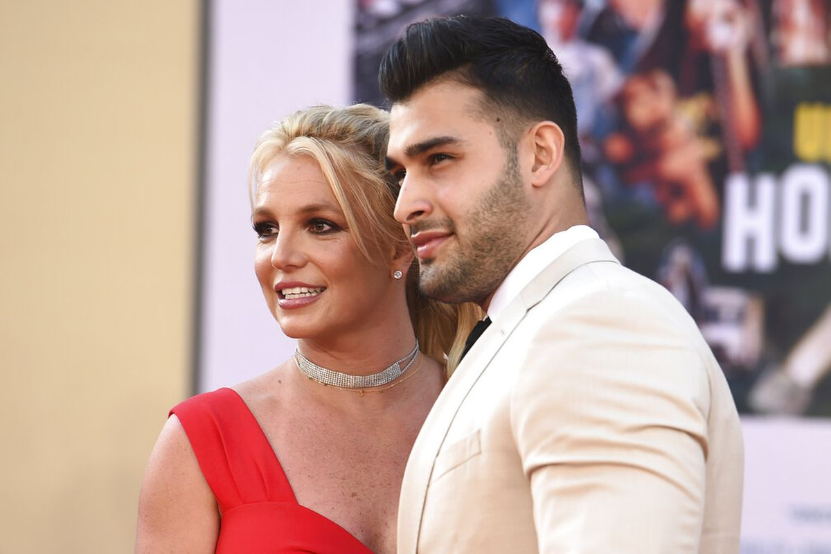 Britney Spears and Sam Asghari arrive at the TCL Chinese Theatre.
