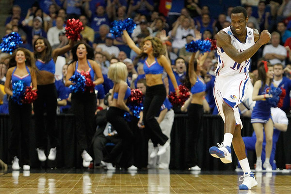 KU is one of two Big 12 teams still dancing.  (Photo by Tom Pennington/Getty Images)