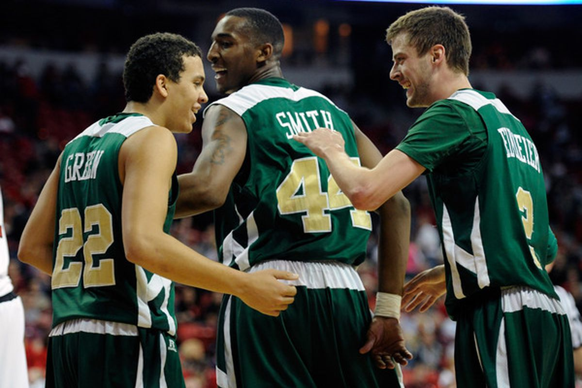 Dorian Green #22 Greg Smith #44 and Wes Eikmeier #2 of the Colorado State Rams celebrate late in the team's 78-63 victory over the UNLV Rebels at the Thomas & Mack Center in Las Vegas Nevada.  (Photo by Ethan Miller/Getty Images)