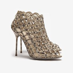 """The name says it all. Sergio Rossi Mermaid Stamped Cage Open Toe Bootie, $1,200 at <a href=""""http://www.intermixonline.com/product/sergio+rossi+mermaid+stamped+cage+open+toe+bootie.do?sortby=ourPicks&CurrentCat=106369"""">Intermix</a>."""