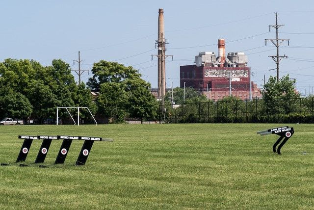 The former Crawford coal-fired power plant sits little more than a mile from Little Village Lawndale High School. People who live in the neighborhood are concerned about the health impact of a warehouse development at the site that will bring hundreds of