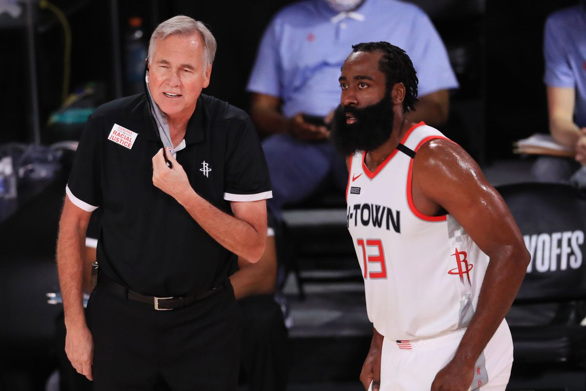 Mike D'Antoni of the Houston Rockets reacts to James Harden of the Houston Rockets during the second quarter in Game One of the Western Conference Second Round during the 2020 NBA Playoffs at AdventHealth Arena at the ESPN Wide World Of Sports Complex on September 04, 2020 in Lake Buena Vista, Florida.