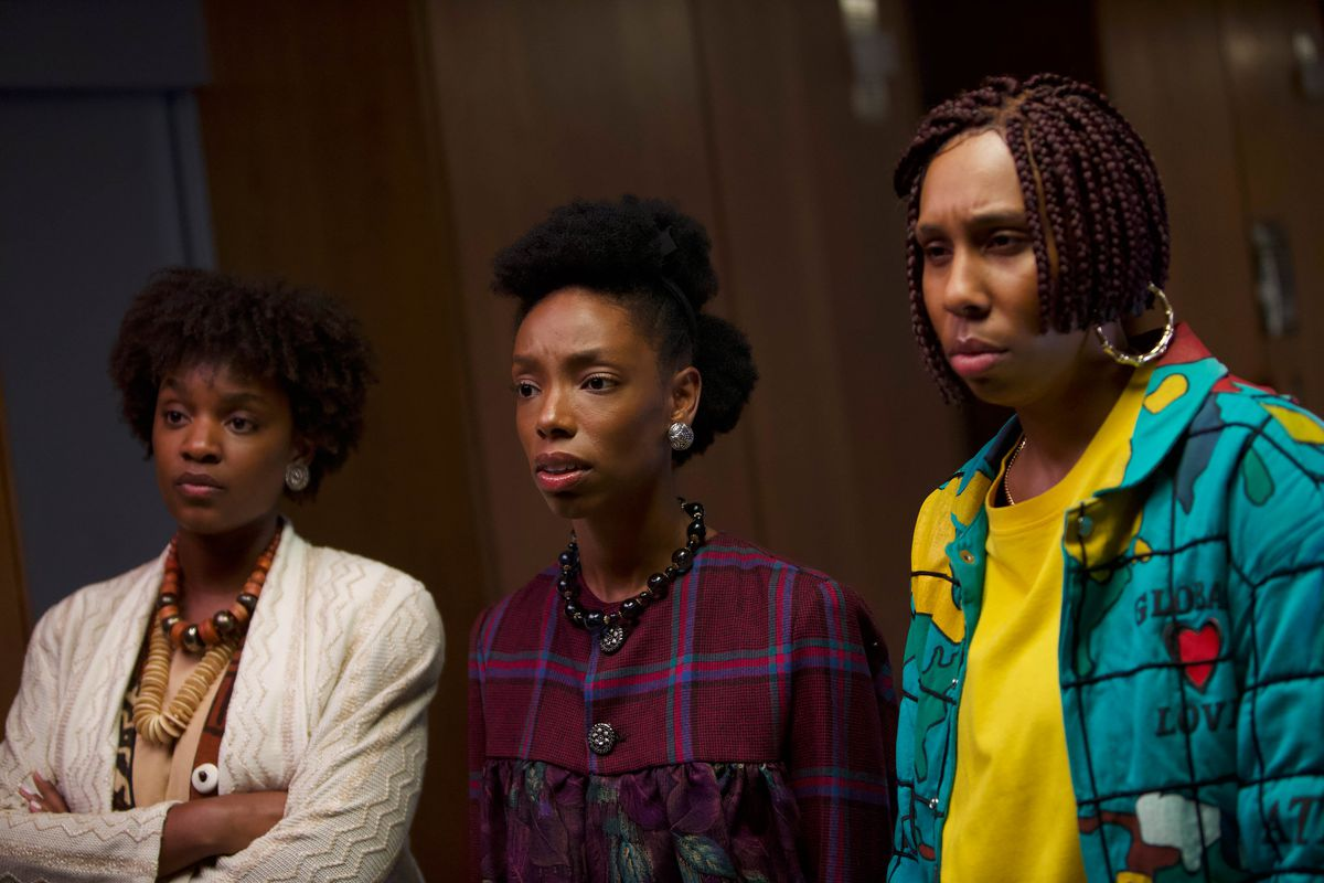 Yaani King Mondschein, Elle Lorraine, and Lena Waithe appears in Bad Hair by Justin Simien