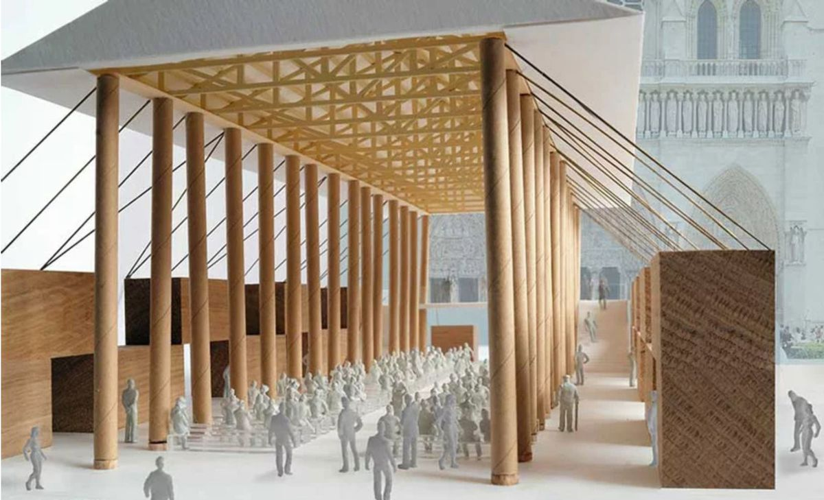 Rendering of chapel made from paper tubes