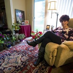 Eugenia Sutcliffe discusses aging and how she deals with it, at her home in Salt Lake City on Monday, March 27, 2017.