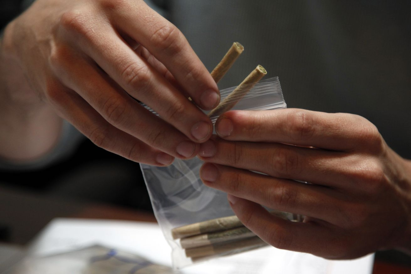 LOS ANGELES, CA - June 16, 2014: A patient's order of medical marijuana is packed in the offices of