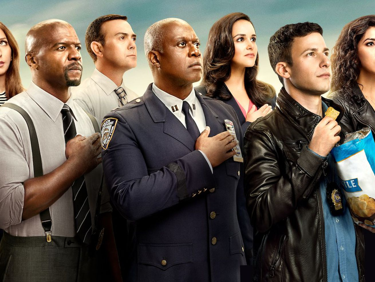 The cast of Brooklyn Nine Nine, a truly delightful show that will now live on