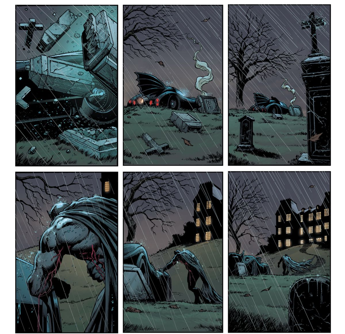 On a rainy night, the Batmobile plows over a gravestone. Batman staggers out of the car and up to Wayne Manor, the lights of its windows glowing in the dark, in Three Jokers #1, DC Comics (2020).