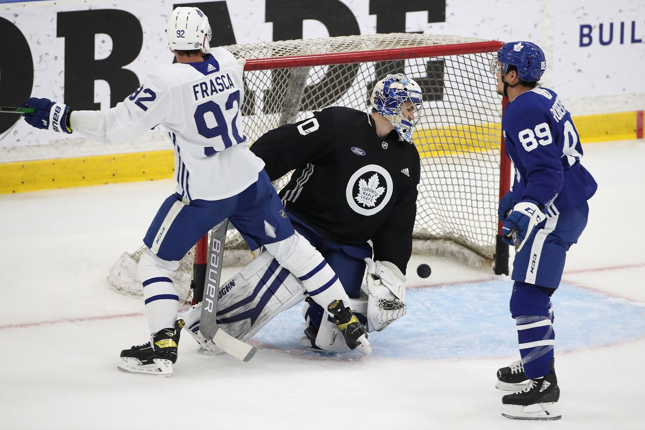 The Toronto Maple Leafs hold a Blue versus White scrimmage during their prospect development camp
