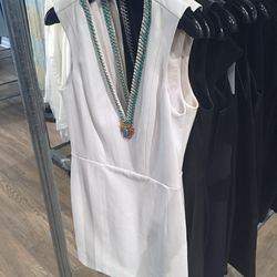 White leather dress with beaded v-neck, $748