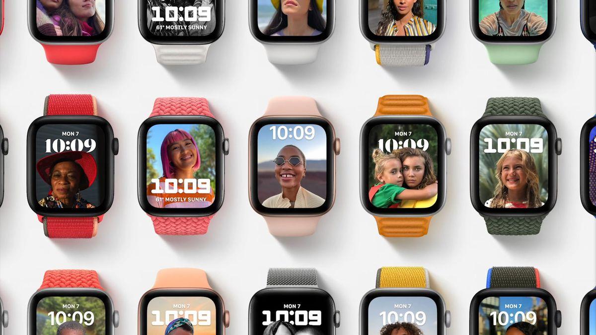 Den nye urskive med portrætbilleder på watchOS 8.