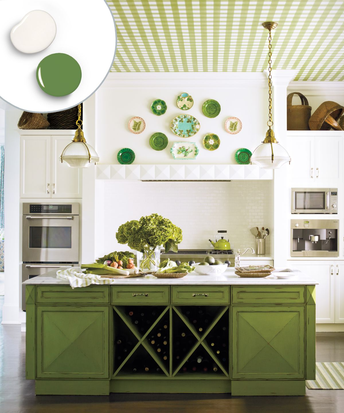Monochromatic green kitchen color scheme with green cabinets, checkered green ceilings, and green decor.