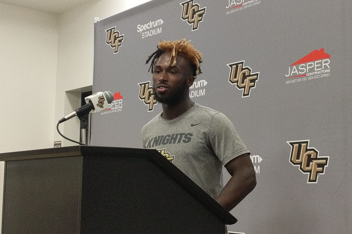 UCF RB Adrian Killins speaks with the media following Saturday's 48-20 win over SMU. (Photo: Brian Murphy)