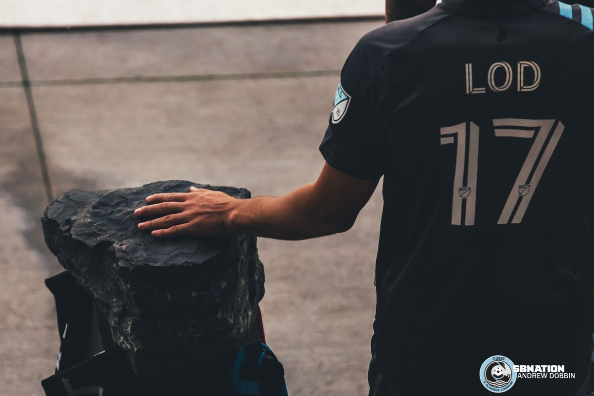September 6, 2020 - Saint Paul, Minnesota, United States - Minnesota United midfielder Robin Lod (17) places his hand on the rock mined from the Iron Range before walking out to take on Real Salt Lake at Allianz Field.