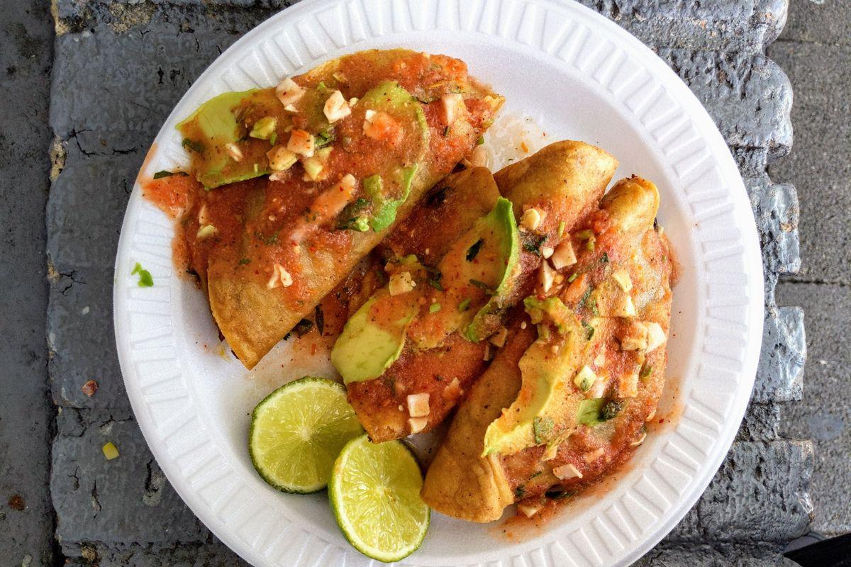 Fried shrimp tacos at Mariscos Jalisco