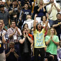 Jazz fans cheer as the Utah Jazz and the Orlando Magic play Saturday, April 21, 2012 in Energy Solutions arena.
