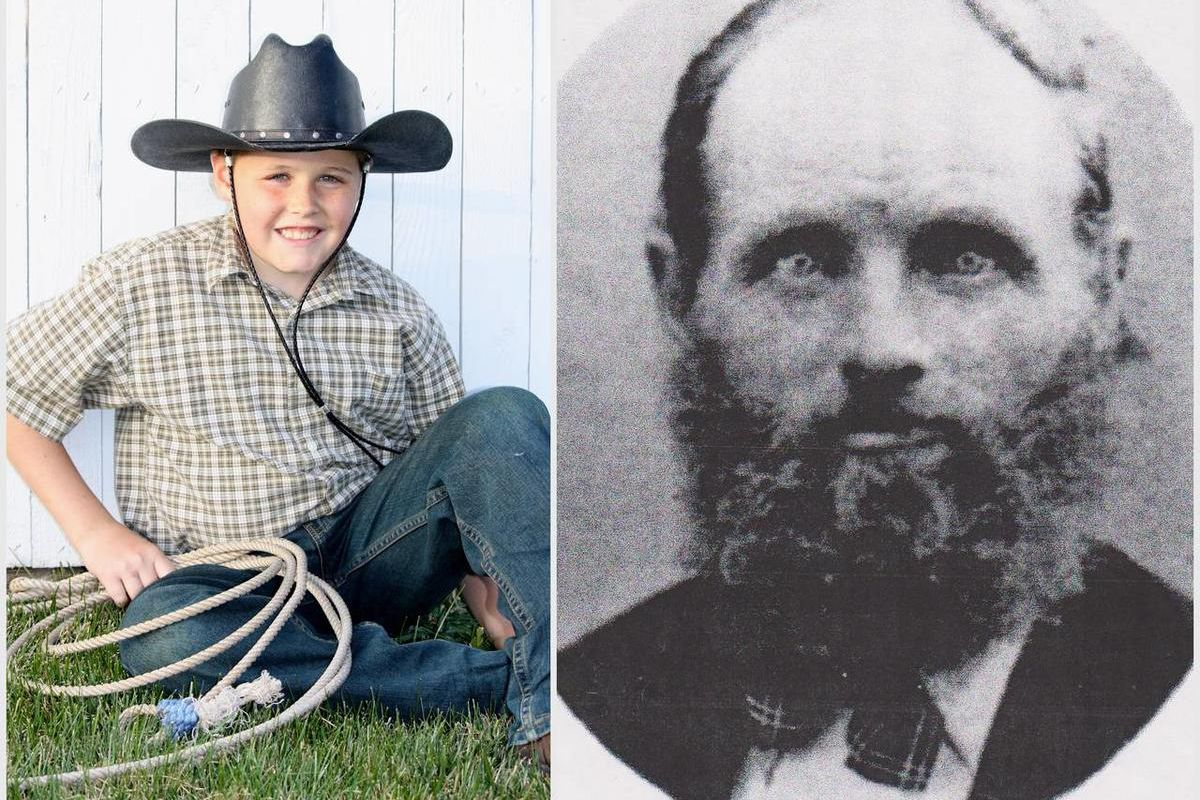 Luke Sowby and his great-great-great grandfather, Isaac Sowby.