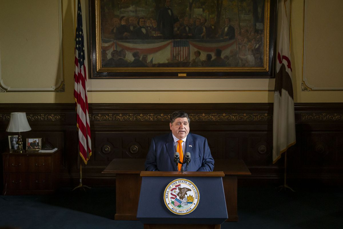 Illinois Gov. J.B. Pritzker holds a news conference in Springfield last week.