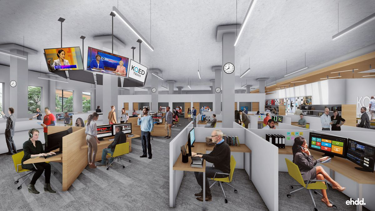 Rendering of people working in an open and sunlight-filled newsroom with TVs, office desks, chairs, partitions, and a wall clock.