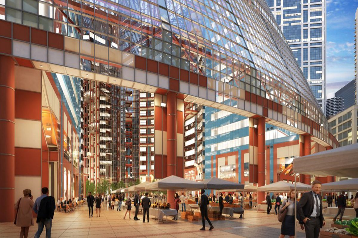 A rendering of a redesigned atrium at the Thompson Center.