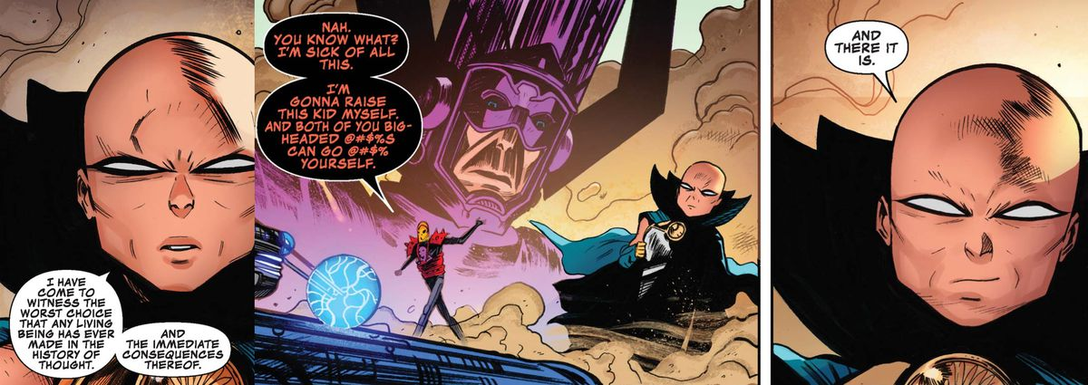 The Watcher, Galactus, and Cosmic Ghost Rider in Cosmic Ghost Rider #2, Marvel Comics (2018).