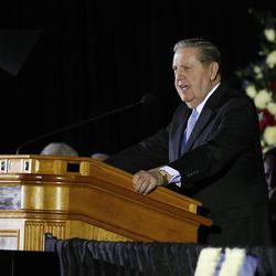Elder Jeffrey R. Holland of the Quorum of the Twelve Apostles speaks at a public memorial service for former Cougar football coach LaVell Edwards at the Provo Convention Center on Friday, Jan. 6, 2017.