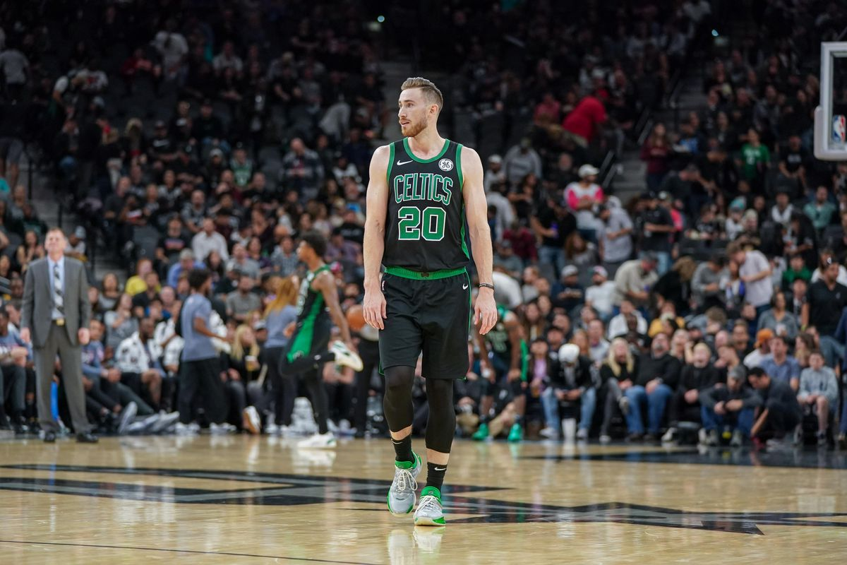 Boston Celtics forward Gordon Hayward walks up the court in the first half of the game agains the San Antonio Spurs at the AT&T Center.