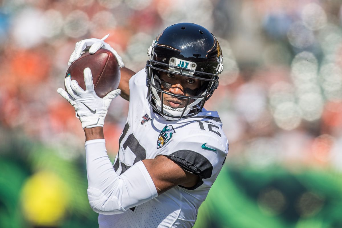 Jacksonville Jaguars wide receiver Dede Westbrook catches the ball in the first quarter against the Cincinnati Bengals at Paul Brown Stadium.