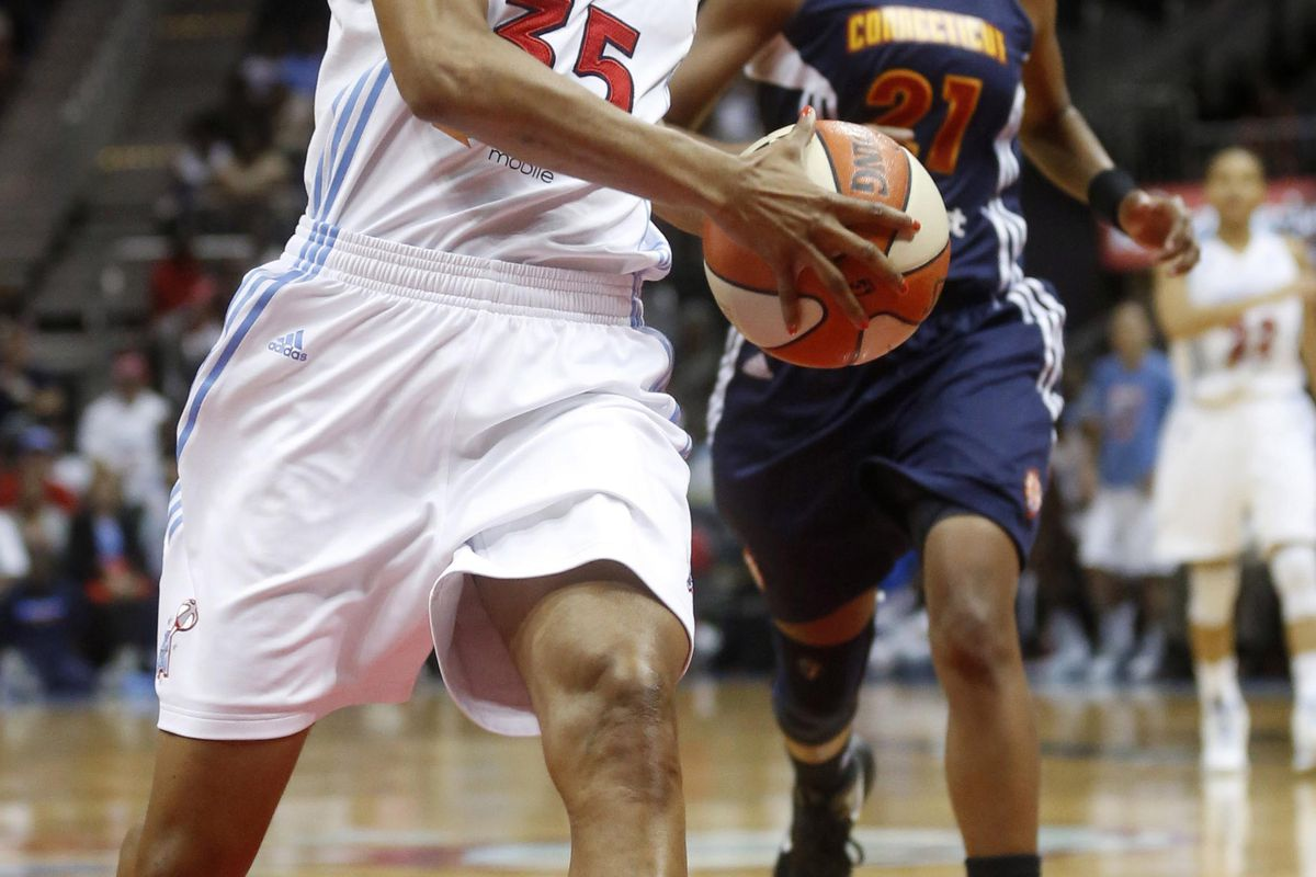 Atlanta Dream wing Angel McCoughtry had an 18-point fourth quarter on Sunday in her return to action from an indefinite suspension. But what specific impact might her presence have on the Dream? <em>Photo by Josh D. Weiss-US PRESSWIRE.</em>