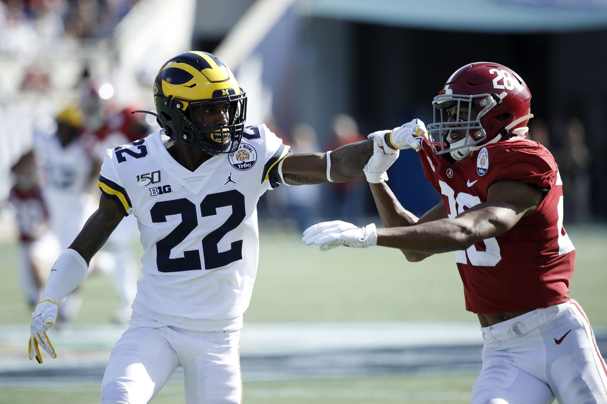 Gemon Green of the Michigan Wolverines blocks on special teams against Josh Jobe of the Alabama Crimson Tide during the Vrbo Citrus Bowl at Camping World Stadium on January 1, 2020 in Orlando, Florida.
