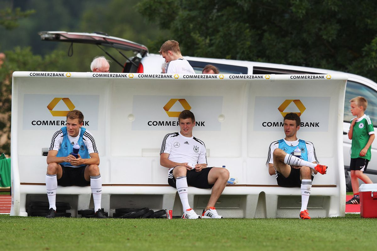 TOURRETTES SUR LOUP, FRANCE - MAY 28: Holger Badstuber, Toni Kroos and Thomas Mueller (L-R) are seen after a Germany training session at Stadium Tourrettes on May 28, 2012 in Tourrettes Sur Loup, France.  (Photo by Joern Pollex/Bongarts/Getty Images)