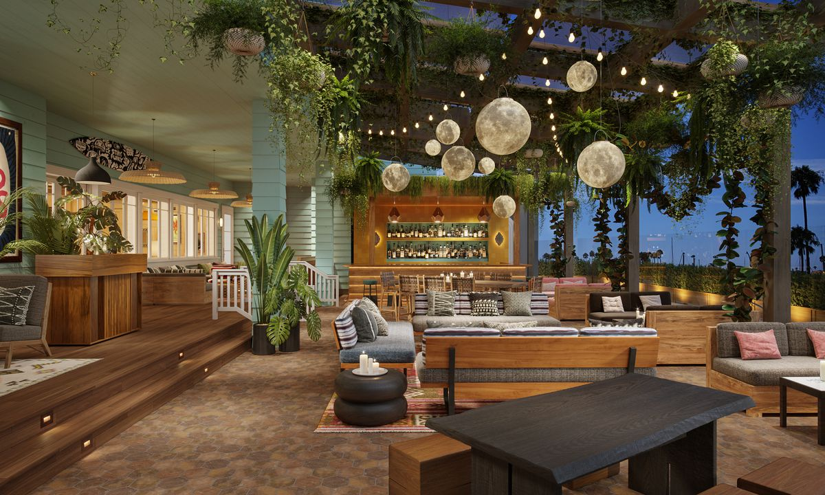 A rendering of a patio for a hip restaurant and lounge, with lots of greenery and wooden details.