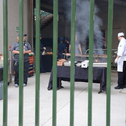 Mon 4:41 p.m. Barbeque set up in the right field corner, for a private event -