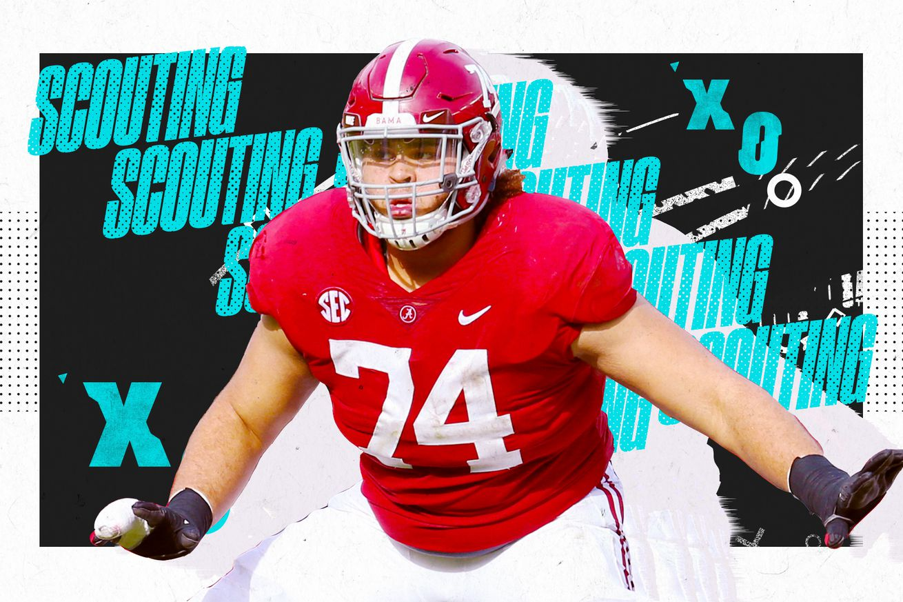 """An illustration of NFL OT prospect Jedrick Wills Jr. blocking at Alabama, superimposed on a black and white background with """"SCOUTING"""" and """"X""""s and """"O""""s in aqua lettering"""
