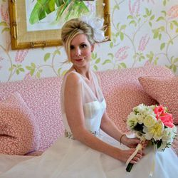 """""""What I love about [my client Kate Leonard's bridal hairstyle] is that it has a classic, timeless feel with a twist of fantasy—a <b>modern-day Audrey Hepburn.</b> Adding a headpiece can really change the mood of any style.  Anything from flowers to a smal"""