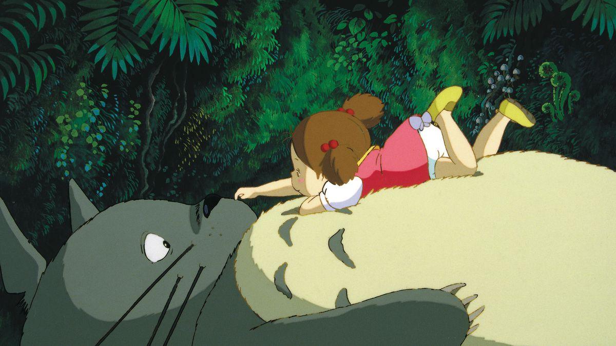 mei boops the nose of a sleeping totoro in my neighbor totoro