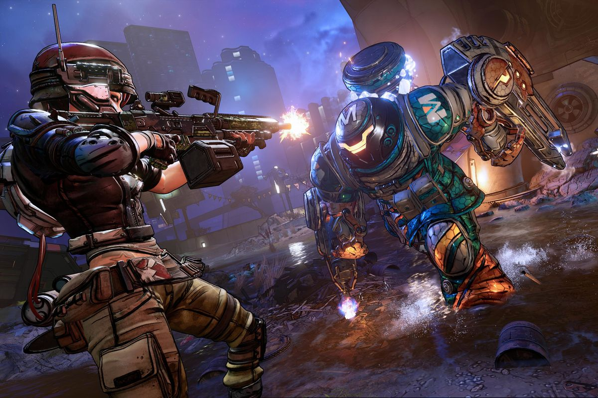 A military character in Borderlands 3 pounds on an enemy with a machine gun.