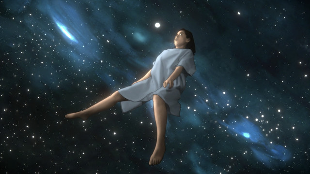Alma floats through space while wearing a hospital gown