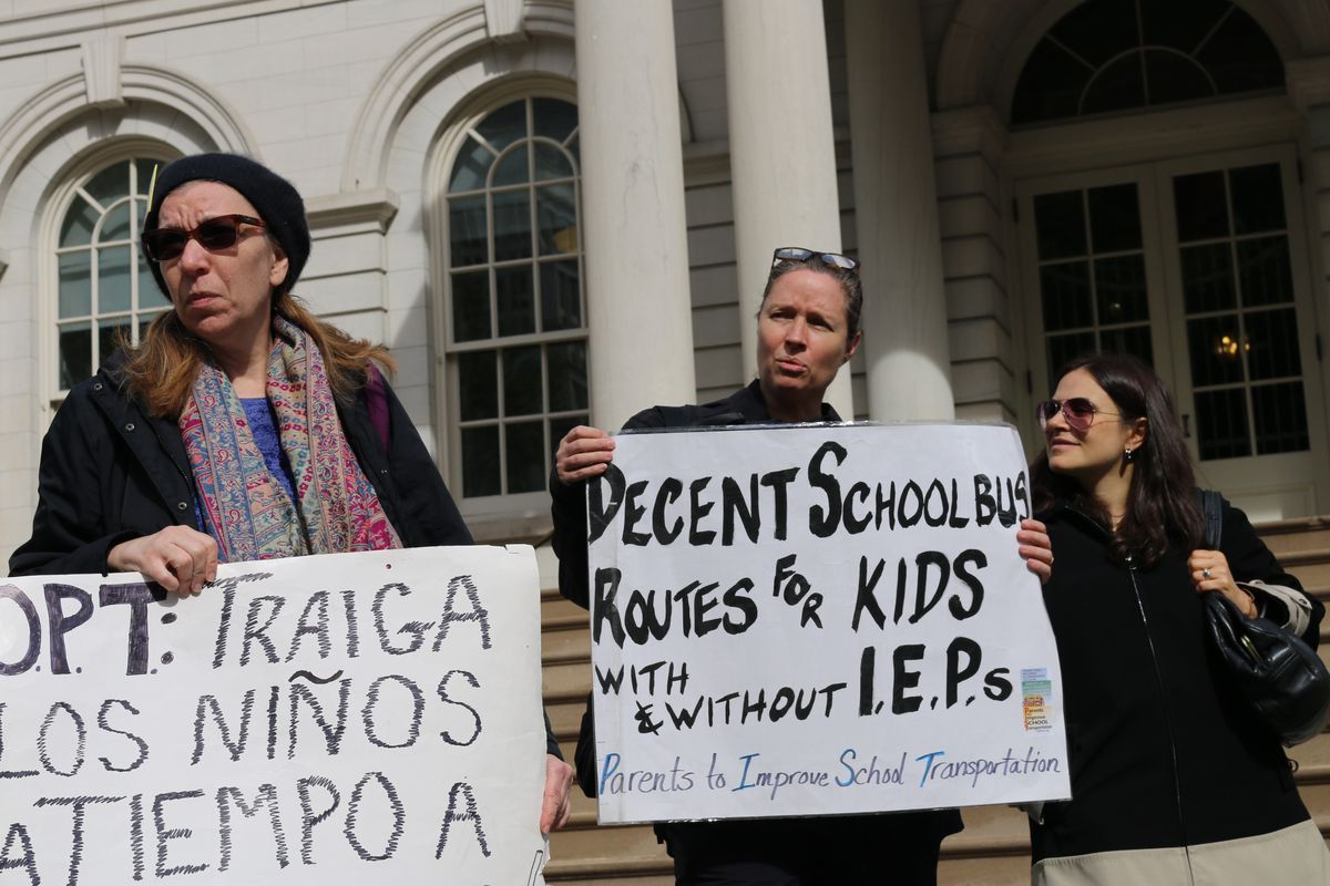 Parents gathered at a press conference outside City Hall to share their horror stories regarding New York City school bus services.