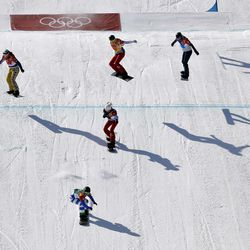 From left; Bronze medal winner Eva Samkova, of the Czech Republic, gold medal winner Michela Moioli, of Italy, silver medal winner De Sousa Mabileau Julia Pereira, of France, Chloe Trespeuch, of France, and Lindsey Jacobellis, of the United States, cross the finish line during the women's snowboard finals at Phoenix Snow Park at the 2018 Winter Olympics in Pyeongchang, South Korea, Friday, Feb. 16, 2018.