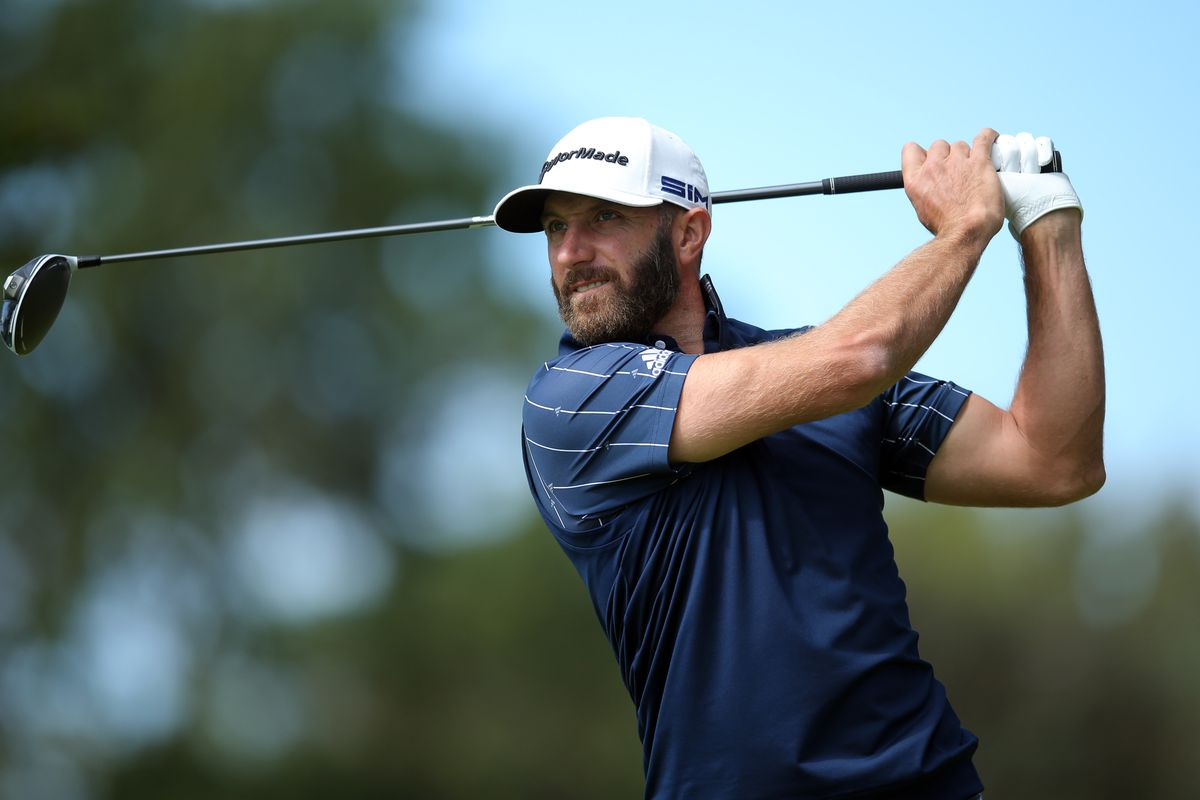 Dustin Johnson plays his shot from the ninth tee during the final round of the U.S. Open golf tournament at Winged Foot Golf Club - West.