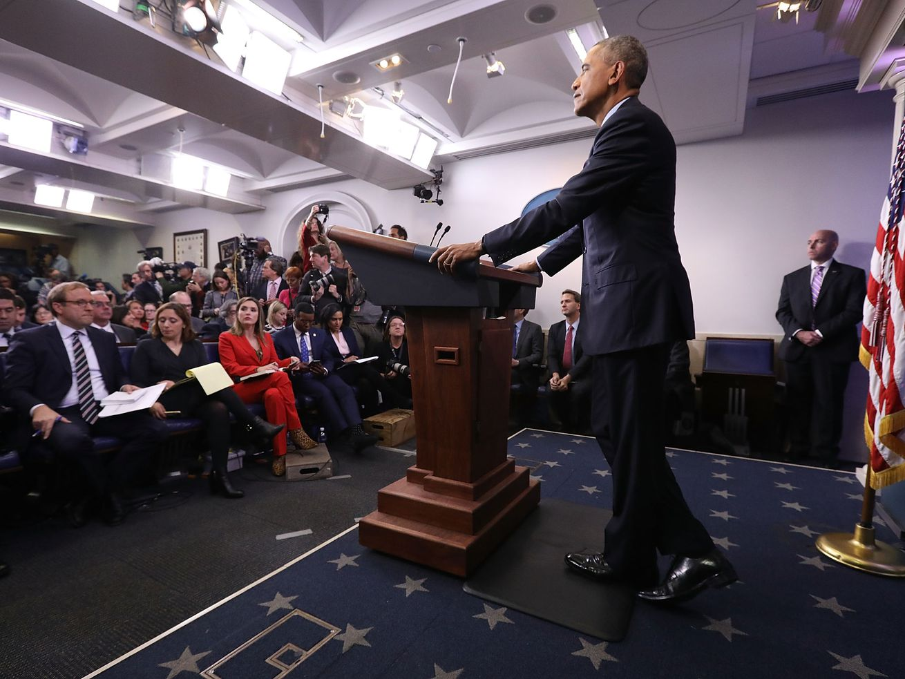 President Barack Obama holds the last news conference of his presidency in the Brady Press Briefing Room at the White House January 18, 2017, in Washington, DC.